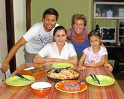 Jazmin, Constanza, Dingo and Fudgie, our hosts in Encarnacion, Paraguay