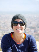 Fudgie at the top of Cristo de la Concordia, Cochabamba, Bolivia