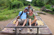 Bamboo train which was formerly used to transport rice and vegetables from the fields into the town