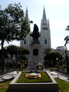 Statue of Simon Bolivar in Parque Bolivar (also known as Parque Iguana), Guayaquil, Ecuador - Cathedral Guayaquil