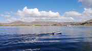 On the way to the floating village in Puno, Peruvian side of Lake Titicaca