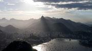 view from the Pão de Açúcar across the bay to Cristo Redentor, Rio de Janeiro, Brazil