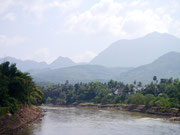 view from our hotel balcony in Vang Vieng, Laos