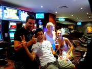 big pay out at the pokies (slot machines) at the Hamilton Hotel in Brisbane - Liam Bannon, Sam Habin and Stephanie