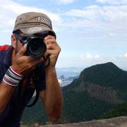 taking a strange picture from Pedra da Gávea, Rio de Janeiro, Brazil