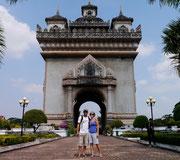Dingo and Fudgie at Patuxia (Arch de Triumph) - Victory Monument, Vientiane, Laos