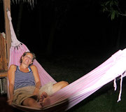Fudgie in the hammock at our nipa hut