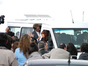 Cristina Fernández de Kirchner, Argentinian President leaving in a school minibus! Not the best safely! Ushuaia, Argentina