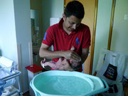 First Bath with Daddy on 23.07.13