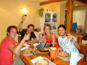 a night of fabulous food and music! Marcello, Matias, Lili (our CS host) and Dingo - Bariloche, Argentina (Mar 2012)