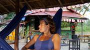picture of Deborah at the Sunset Bar, Vang Vieng, Laos