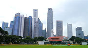 Singapore Cricket Club with the downtown backdrop