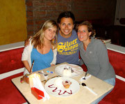 with our couchsurfing host at a vegetarian restaurant in Medellin!