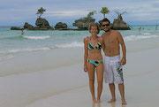 Fudgie and Dingo on the beautiful White Beach, Boracay