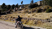 on our trail bike near Copacabana (Lake Titicaca), Bolivia