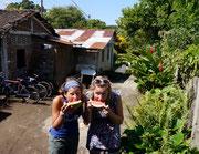 outside our hostel in Isla Ometepe, Nicaragua