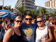 Claire, Dingo and Richie at street party in Ipanema!