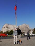 Chilean Flag on Calle de Liberator Bernando O'Higgins, Santiago, Chile