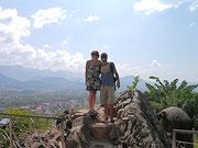 Fudgie and Dingo at Phousi Mountain viewpoint