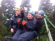 Ali in safe hands on the tandem zip line in Monteverde, Costa Rica