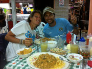 enjoying almuerzo at the central mercado in San Jose, Costa Rica