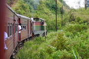 train journey from Kandy to Nuwara Eliya passing through the hillside country, including many tea plantations