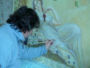 """Фреска""""Девушка с ваноградом"""". в процеси создания."""
