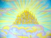 """Роспись мансарды, как детской комнаты.""""Город золотой"""""""