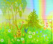 """Роспись детской комнаты.""""Зайчонок и бабочка"""""""