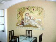 """художественная Фреска на кухни """"Девушка с ваноградом""""."""