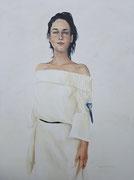 Vrouw met staartmeesje / 2020 / olieverf op canvas /  VERKOCHT