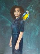 Vrouw met blauw gele ara / 2020 / olieverf op canvas / VERKOCHT