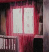 """""""Girl's room"""" 74x74cm  Oil on wood"""