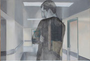 """Waiting room II"" 15P (38x55cm) Oil on paper mounted on canvas"