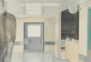 """Waiting room I"" 15P (38x55cm) Oil on paper mounted on canvas"