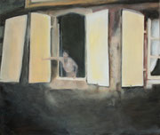 """Shutters"" 8F (46x38cm) Oil on wood"