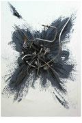 Leichte Federung, 60 x 80 cm, Acryl und Metall auf Leinwand - Verkauft
