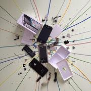 4 enohP-I, 60 x 60 cm, Acryl und I-Phone 4 auf Leinwand