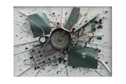 MPHPRPNPLV100, 101 x 73 cm, Acryl und altes Beatmungsgerät - Verkauft