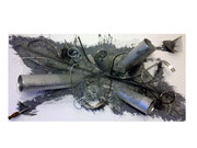 Metall, 40 x 80 cm, Acryl und Metall auf Leinwand - Verkauft