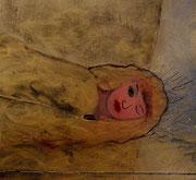 kleiner Vampir 2013-2014; 11,7 x 10,6 cm Öl, Goldspray auf Kreidepaneel