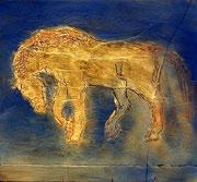goldenes Pferdchen 2014; 12x 11 cm, Öl auf Kreidepanee