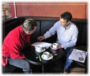 Letzte Besprechung, Rolf Raschle (Denner) und Dejan Miletic (Caffé Derby)