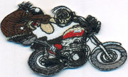 Comic Rennfaher Biker Motorradfahrer Racer Biker, Aufnäher, Patch, Abzeichen