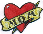 I love Mom,Tattoo Herz, Heart Oberarm, Biker, Aufnäher, Patch, Abzeichen