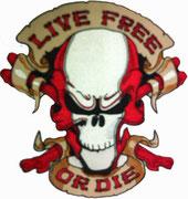 Live Free, Or Die, Skullhead Biker, Aufnäher, Patch, Abzeichen