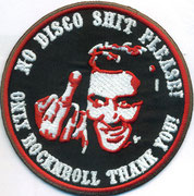 Elvis Presley, No Disco Shit Music, only Rockn Roll, Thank you, Mittelfinger Biker, Aufnäher, Patch, Abzeichen