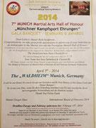 Aufnahme in die Martial Arts Hall of Honour