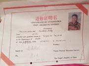 Zertifikat Wushu China