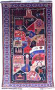 2. War rug, Gebetsteppich?, Landkarte von Afghanistan, Belutschen Afghanistan, ca. 1980/90, 135 x 79 cm